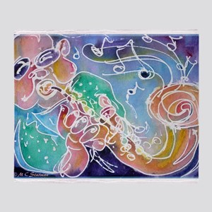 Music! Fun, colorful, sax! Throw Blanket